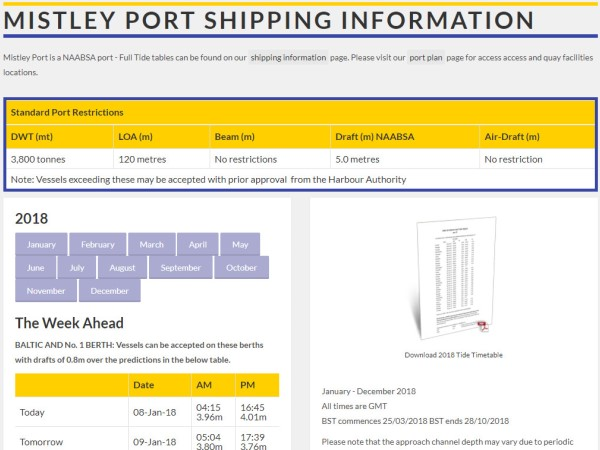 New Port Of Mistley 2018 Tide Tables Available